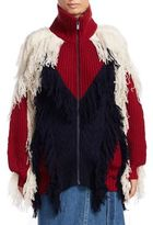 Sacai Wool Fringe Colorblock Jacket