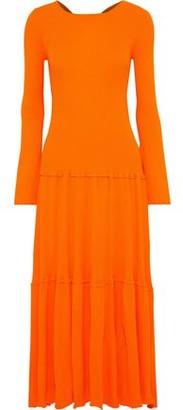 Carolina Herrera Open-back Tiered Ribbed-knit Maxi Dress