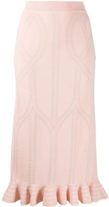 Alexander McQueen Textured Knitted Frilled Skirt