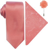 Jf J.Ferrar JF Solid Tie, Pocket Square and Lapel Pin Set