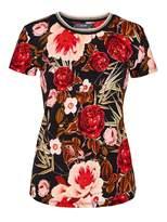 Hallhuber Rose print top with Lurex neckline