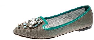 Dolce & Gabbana Grey Patent Leather Crystal Embellished Ballet Flats Size 40