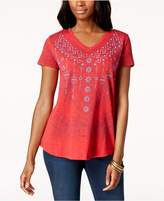 Style&Co. Style & Co Embroidered V-Neck T-Shirt, Created for Macy's