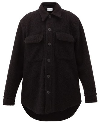 Raey Oversized Chest-pocket Pilled Wool-blend Shacket - Black