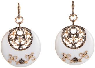 Generic Gemstones 18K Rose Gold & Rhodium 2.22 Ct. Tw. Diamond & Agate Earrings