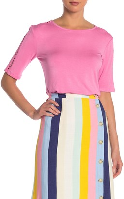 Catherine Malandrino Elbow Sleeve Knit Cutout Trim T-Shirt