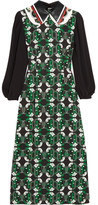 Miu Miu Leather-trimmed Printed Crepe Midi Dress - Green