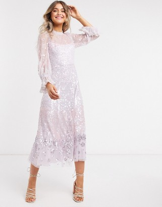 Needle & Thread embellished midaxi dress with fluted sleeve in lilac