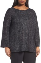 Lafayette 148 New York Plus Size Women's Lafayette 148 Metallic Knit A-Line Sweater