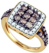 Jawa Fashion 10kt Rose Gold Womens Round Cognac- Colored Diamond Square Cluster Ring 1-5/8 Cttw