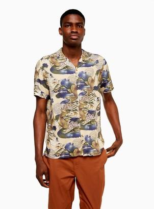 Topman Ecru Japanese Fish Slim Shirt