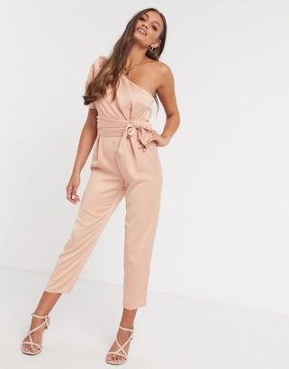 ASOS DESIGN petite one-shoulder puff-sleeved jumpsuit in blush