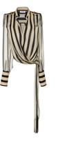 Monse Regalia Striped Silk-Chiffon Wrap Top