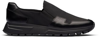 Prada Leather Panel Slip-On Sneakers