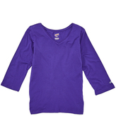 Soffe Purple Three-Quarter Sleeve V-Neck Tee