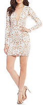 Dress the Population Claudia Deep V-Neck Sequin Lace Sheath Dress