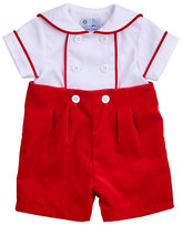 Florence Eiseman Double-Breasted Sailor Shortall Set, Red/White, Size 3-18 Months