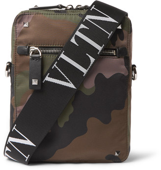 Valentino Leather-Trimmed Camouflage-Print Canvas Messenger Bag