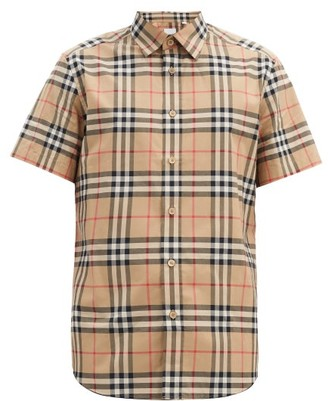 Burberry Nova-check Cotton Shirt - Beige Multi