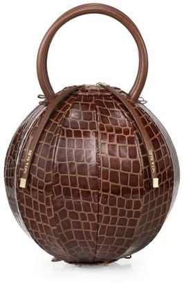 Nita Suri Pilo Croc-Embossed Leather Cage Top Handle Bag
