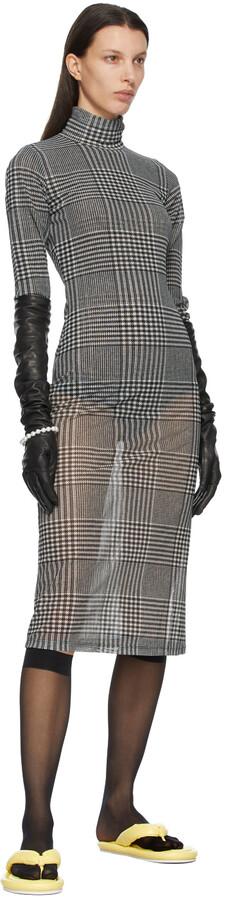 Thumbnail for your product : MM6 MAISON MARGIELA White & Black Sheer Check Dress