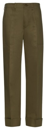 Mafalda Von Hessen - Wide-leg Cotton-blend Trousers - Womens - Dark Green