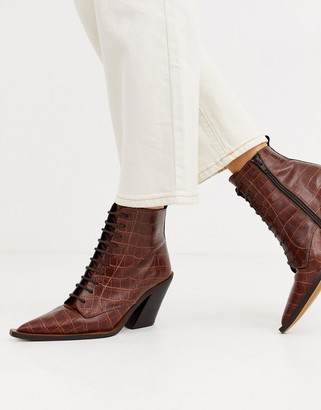 Asos Design DESIGN Redwood premium leather western lace up boots in brown croc