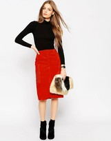 Asos Suede Pencil Skirt With Leather Pockets