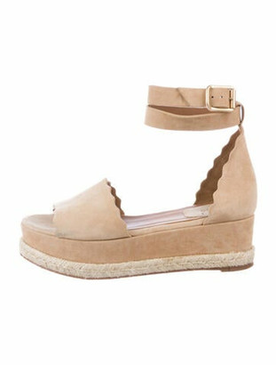 Chloé Lauren Suede Wedges Tan
