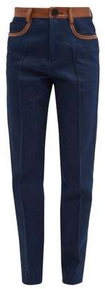 Wales Bonner Leather-trim High-rise Jeans - Womens - Navy