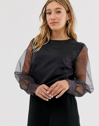 NA-KD Na Kd long sleeve organza blouse in black
