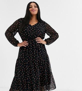 New Look Plus Curve long sleeve tiered midi dress in rust spot-Black