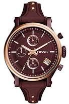 Fossil Women's ES4114 Original Boyfriend Sport Chronograph Wine Leather Watch