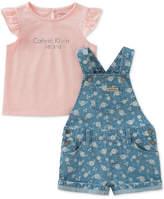 Calvin Klein 2-Pc. Graphic-Print Cotton Top & Printed Shortall Set, Little Girls