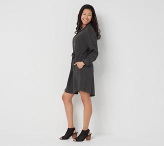 Side Stitch 3/4-Sleeve Shirt Dress with Tie Waist