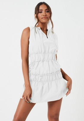 Missguided White Ruched Waist High Neck Mini Dress