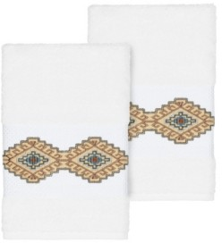 Linum Home Gianna 2-Pc. Embroidered Turkish Cotton Hand Towel Set Bedding