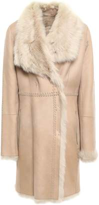 Yves Salomon Reversible Whipstitched Shearling Coat