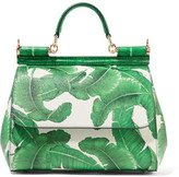 Dolce & Gabbana Sicily Medium Printed Textured-leather Tote - Green