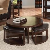 TRIBECCA HOME Baxter Cocktail Table and Slide Out Ottoman Set