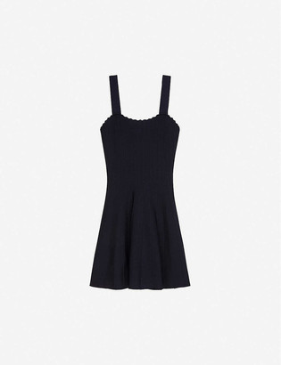 Claudie Pierlot Scalloped stretch-knit mini dress