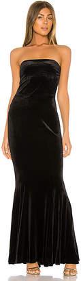 Norma Kamali Velvet Strapless Fishtail Gown