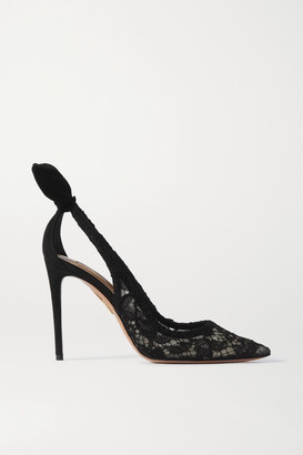 Aquazzura Bow Tie 105 Lace And Suede Pumps - Black