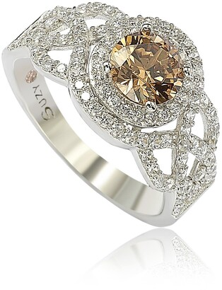 Suzy Levian Sterling Silver Brown CZ Bridal Ring