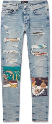 Amiri Skinny-Fit Panelled Distressed Stretch-Denim Jeans