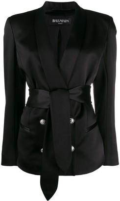 Balmain Belted Satin Jacket