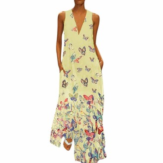 KPILP Women Dress Casual Butterfly Print Dress Sleeveless Loose Party Long Dress Summer Fashion Beach Elegant Maxi Dress Yellow