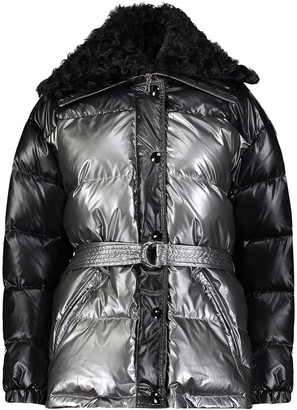 Yves Salomon Down Puffer Jacket with Fur Collar