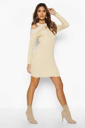 boohoo Pearl Embellished Jumper Dress