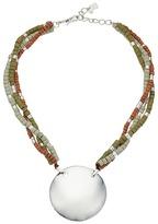 Robert Lee Morris Beaded Silver Circle Pendant Necklace